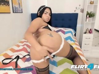 Arlet Thompson on Flirt4Free - Latina in Lingerie Bends Over Fingers Pussy flirt4free masturbate petite