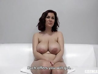 Karolina with big natural tits at Czech casting amateur handjob milf
