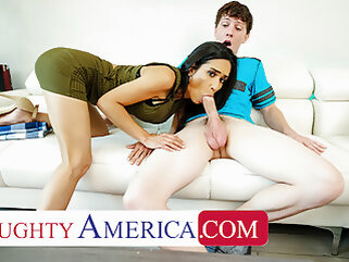 Naughty America - Recently divorced MILF fucks son's friend blowjob brunette cumshot