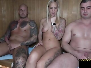 Blowjob in Public Sauna blonde blowjob milf