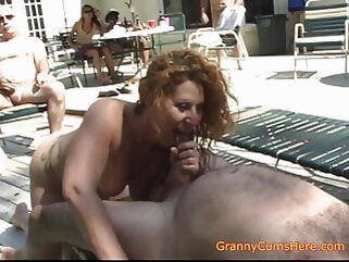 Is Your Granny a Whoring Cumslut Like Ours? blowjob close-up cumshot
