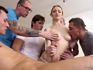 Belle Claire Gangbang anal blonde double penetration