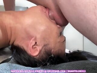 Must See! Throat Bulge Deepthroat Face Fucking Upside Down Sloppy Cum in Mouth Shantel Dee asian deepthroat ebony
