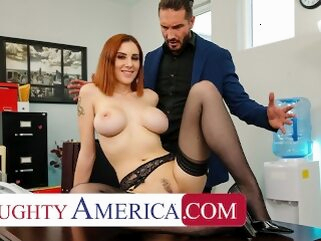 Naughty America - Lilian Stone drains her boss' balls to help relieve his stress naughtyoffice boobs redhead