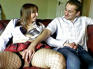 Chubby and chatty girlfriend in fishnet stockings amateur blowjob stockings