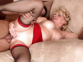 The start of my granny fetish 080 blonde cumshot stockings